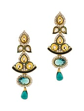 Gold Plated Danglers With Unique Design Embedded With White And Blue Crystals - Voylla