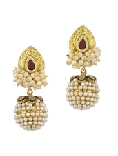 Dangler Earrings With Maroon Stone And Pearl Beads - Voylla