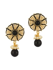 Dazzling Pair Of Floral Earrings With Black Stone - Voylla