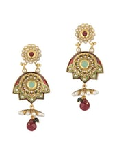Pair Of Dangler Earrings Decorated With Coloured Stones And Pearl Beads - Voylla