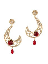 Inverted Question Mark Shape Earrings With Red Stones - Voylla