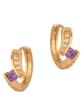 Sparkling Hoop Earrings With CZ And Purple Stone - Voylla