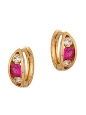CZ And Pink Stone Adorned Pair Of Hoop Earring - Voylla