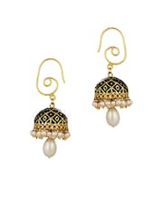Gold Plated Jhumki Earrings Embellished With Black Enamel And White Pearls - Voylla