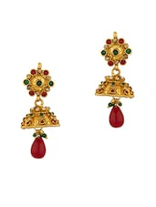 Gold Plated Jhumki Earrings With Dainty Motif - Voylla