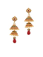 Gold Plated Jhumki Earrings With Stones - Voylla