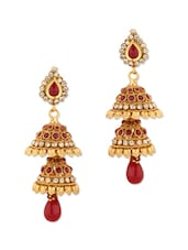 Gold Plated Jhumki Earrings With Red Stones - Voylla