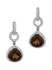 Diamond Studded Silver Drop Earrings - Voylla