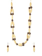 Fashionable Gold And Brown Neckpiece With Earrings - Voylla