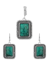 Blue Stone Rectangular Design Pendant Set - Voylla