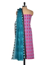 Pink And Blue Cotton Printed Suit Piece - Ethnic Vibe