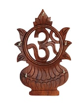 Wood Carving Key Hanger In Om Kalash Design