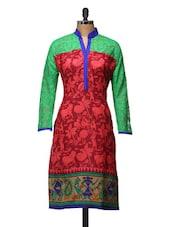 Red Printed Kurta With  Green Sleeves - ARYA