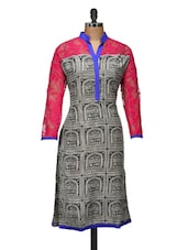 Black And White Printed Kurta With Pink Sleeves - ARYA