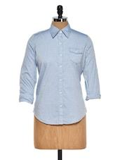 Smart Blue Collared Shirt - Fast N Fashion