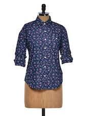 Blue Floral Print Roll Up Sleeved Shirt - Fast N Fashion