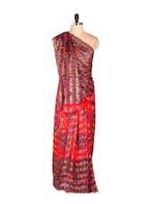 Amazing Red Printed Georgette Satin Saree - Saraswati