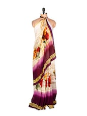 Elegant White And Purple Floral Printed Art Silk Saree With Matching Blouse Piece - Saraswati