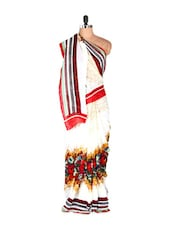Gorgeous White Floral Printed Art Silk Saree With Matching Blouse Piece - Saraswati