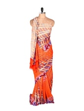 Gorgeous Orange Printed Art Silk Saree With Matching Blouse Piece - Saraswati
