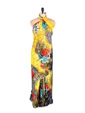 Floral Printed Yellow Printed Art Silk Saree With Matching Blouse Piece - Saraswati