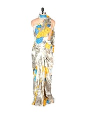 Stunning Abstract Printed Yellow Art Silk Saree With Matching Blouse Piece - Saraswati