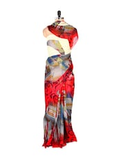 Gorgeous Red Printed Art Silk Saree With Matching Blouse Piece - Saraswati