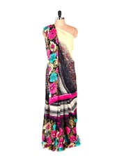 Gorgeous Floral Printed Pink Art Silk Saree With Matching Blouse Piece - Saraswati