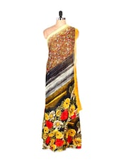 Fabulous Floral Printed Yellow Art Silk Saree With Matching Blouse Piece - Saraswati