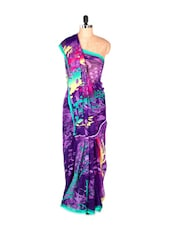 Gorgeous Purple Printed Art Silk Saree With Matching Blouse Piece - Saraswati