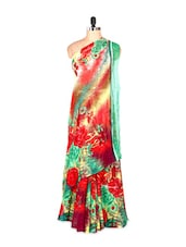 Gorgeous Floral Printed Red And Green Art Silk Saree With Matching Blouse Piece - Saraswati
