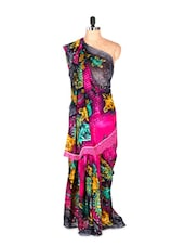 Amazing Pink Floral Printed Art Silk Saree With Matching Blouse Piece - Saraswati