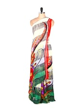 Fabulous Abstract Printed Art Silk Saree With Matching Blouse Piece - Saraswati
