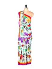 Stunning Floral Printed Art Silk Saree With Matching Blouse Piece - Saraswati
