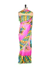 Stylish Pink Printed Art Silk Saree With Matching Blouse Piece - Saraswati