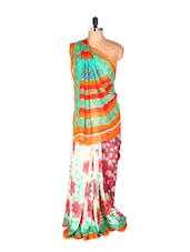 Graceful Orange And Green Printed Art Silk Saree With Matching Blouse Piece - Saraswati