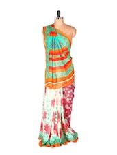 Graceful Orange And Green Printed Art Silk Saree With Matching Blouse Piece - Saraswati