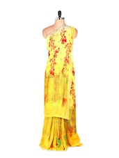 Amazing Yellow Printed Art Silk Saree With Matching Blouse Piece - Saraswati