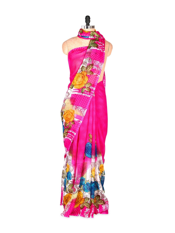 Beautiful Pink Printed Art Silk Saree With Matching Blouse Piece - Saraswati