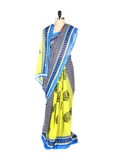 Stylish Half And Half Printed Art Silk Saree With Matching Blouse Piece - Saraswati