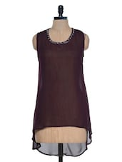 Brown Sheer High-Low Top - Mind The Gap