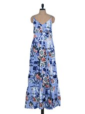 Azure Floral Printed Maxi Dress - Mind The Gap