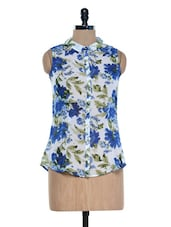 White And Blue Floral Printed Top - Mind The Gap
