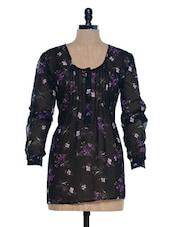 Black Floral Printed Sheer Tunic - Mind The Gap
