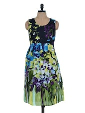 Black And Green Floral Printed Dress - Mind The Gap
