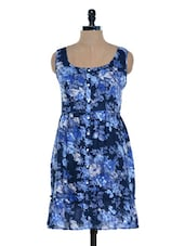 Navy Blue Floral Printed Dress - Mind The Gap