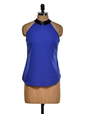 Blue Halter Neck Top With Sequin Detailing On Neck - Purplicious