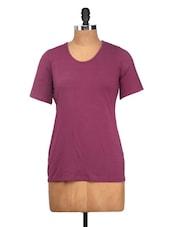 Solid Purple Short-Sleeved Top - Nineteen