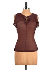 Ruffled Brown Orange Top - Nineteen