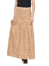 Cream And Ochre Printed Maxi Skirt - Nineteen